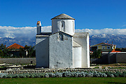 The pre-Romanesque church of the Holy Cross (Sv Kriz) reputed to be the smallest cathedral in the world. Nin, Croatia