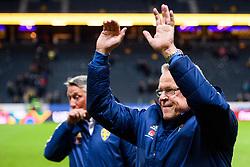 November 20, 2018 - Stockholm, Sweden - 181120 Head coach Janne Andersson of Sweden celebrates after the Nations League football match between Sweden and Russia on November 20, 2018 in Stockholm..Photo: Petter Arvidson / BILDBYRÃ…N / kod PA / 87811 (Credit Image: © Petter Arvidson/Bildbyran via ZUMA Press)