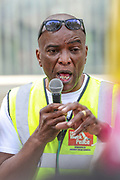 """Stafford Scott speaks outside New Scotland Yard in London, on Sept 12, 2020 - as part of an anti-racism demonstration calling for Metropolitan police commissioner Cressida Dick to resign.<br /> Demonstrators gathered to denounce the """"over-policing of black communities"""" through tactics including stop and search and police use of stun guns. The Metropolitan police commissioner Dame Cressida Dick is facing calls to step down from Black Lives Matter activists who say she has """"failed to acknowledge"""" racism within the force. (VXP Photo/ Vudi Xhymshiti)"""