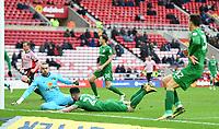 Preston's Sean Maguire scores a goal with Sunderland's Lee Camp<br /> <br /> Photographer Jonathan Hobley/CameraSport<br /> <br /> The EFL Sky Bet Championship - Sunderland v Preston North End - Saturday 17th March 2018 - Stadium of Light - Sunderland<br /> <br /> World Copyright © 2018 CameraSport. All rights reserved. 43 Linden Ave. Countesthorpe. Leicester. England. LE8 5PG - Tel: +44 (0) 116 277 4147 - admin@camerasport.com - www.camerasport.com