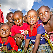 Children come for a closer look. Village of Taachasis in Nandi County, located in Kenya's Rift Valley Province.