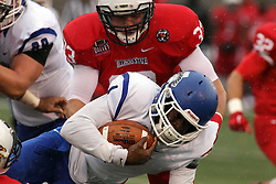 31 October 2015:  Pat Meehan(33) adds some help to bring down ball carrier LeMonte Booker(1) during the NCAA FCS Football between Indiana State Sycamores and Illinois State Redbirds at Hancock Stadium in Normal IL (Photo by Alan Look)