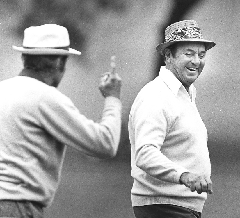 1980's Legends of Golf tournament in Austin, Texas at Onion Creek Club.    Pro Golfer Sam Snead in action.