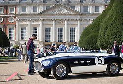 © Licensed to London News Pictures. 02/09/2017. London, UK. A 1953 Ferrari 340 MM Vignale Spyder is displayed at the Concours of Elegance show in the grounds of Hampton Court Palace. The Concours of Elegance brings together, over three days, a selection of 60 of the rarest cars from around the world some of which have never been seen before in the UK. Each car owner is asked to vote on the other models on display to decide which car is considered to be the 'Best of Show'. The show also displays of hundreds of other fine motor cars, including entrants to The Club Trophy. Photo credit: Peter Macdiarmid/LNP