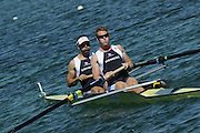 Munich, GERMANY, GBR M2- Bow Toby GARBUTT and Marcus BATEMAN, during the FISA World Cup at the Munich Olympic Rowing Course, Thur's.  08.05.2008  [Mandatory Credit Peter Spurrier/ Intersport Images] Rowing Course, Olympic Regatta Rowing Course, Munich, GERMANY