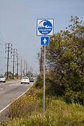 Tsunami evacuation route signs, Ballona Wetlands, Playa Del Rey, Los Angeles, California, USA