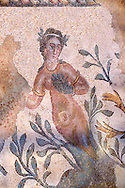 Roman mosaics of a nymph at the Villa Romana del Casale which containis the richest, largest and most complex collection of Roman mosaics in the world. Constructed  in the first quarter of the 4th century AD. Sicily, Italy. A UNESCO World Heritage Site. .<br /> <br /> If you prefer to buy from our ALAMY PHOTO LIBRARY  Collection visit : https://www.alamy.com/portfolio/paul-williams-funkystock/villaromanadelcasale.html<br /> Visit our ROMAN MOSAICS  PHOTO COLLECTIONS for more photos to buy as buy as wall art prints https://funkystock.photoshelter.com/gallery/Roman-Mosaics-Roman-Mosaic-Pictures-Photos-and-Images-Fotos/G00008dLtP71H_yc/C0000q_tZnliJD08