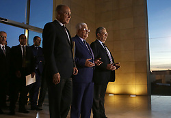 November 9, 2016 - Ramallah, West Bank, Palestinian Territory - Palestinian President Mahmud Abbas, Ahmed Aboul Gheit, Secretary-General of the Arab League and former Secretary-General of the Arab League Amr Mousa pray in front of the tomb of the late Palestinian leader Yasser Arafat during the inauguration ceremony of late Palestinian leader Yasser Arafat's Museum in the West Bank city of Ramallah on November 9, 2016. The Yasser Arafat Museum opened in Ramallah, shedding light on the long-time Palestinian leader's life and offering a glimpse of history -- along with a number of his trademark black-and-white keffiyehs  (Credit Image: © Shadi Hatem/APA Images via ZUMA Wire)
