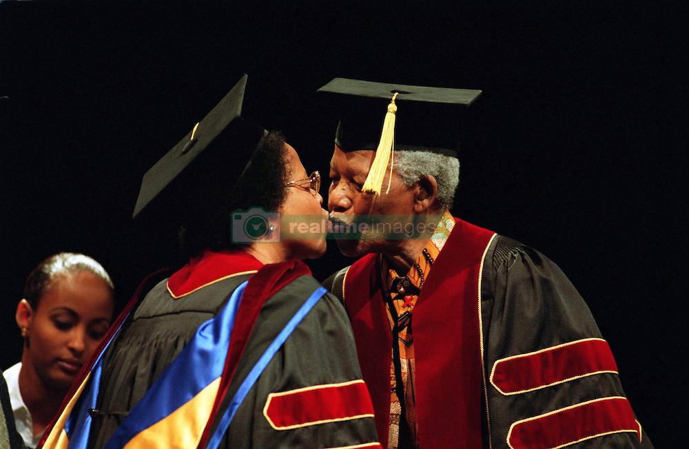 Dec 24, 2001 -  Toronto, Ontario, Canada - NELSON MANDELA and his wife GRACA MACHEL celebrate receiving honorary doctorates from Ryerson University in November.  (Credit Image: © Ron Bull/Toronto Star/ZUMAPRESS.com)