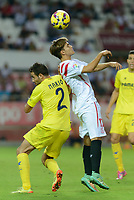 Villarreal's Mario (L) and Denis suarez (R) during the match between Sevilla FC and Villarreal day 9 spanish  BBVA League 2014-2015 day 5, played at Sanchez Pizjuan stadium in Seville, Spain. (PHOTO: CARLOS BOUZA / BOUZA PRESS / ALTER PHOTOS)