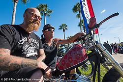 Bill Dodge and Zee on Beach Street during Biketoberfest, Daytona Beach, FL, October 18, 2014, photographed by Michael Lichter. ©2014 Michael Lichter