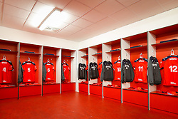 General View of the Bristol Rugby shirts hung up in the away dressing room - Mandatory byline: Rogan Thomson/JMP - 13/11/2015 - RUGBY UNION - Kingspan Stadium - Belfast, Northern Ireland - Ulster Ravens v Bristol Rugby - The British & Irish Cup Pool 2.
