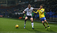Bolton Wanderers' David Wheater holds off the challenge from Leeds United's Mateusz Klich<br /> <br /> Photographer Stephen White/CameraSport<br /> <br /> The EFL Sky Bet Championship - Bolton Wanderers v Leeds United - Saturday 15th December 2018 - University of Bolton Stadium - Bolton<br /> <br /> World Copyright © 2018 CameraSport. All rights reserved. 43 Linden Ave. Countesthorpe. Leicester. England. LE8 5PG - Tel: +44 (0) 116 277 4147 - admin@camerasport.com - www.camerasport.com