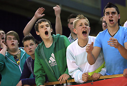 Fans of SC Slovenj Gradec at SKL finals volleyball match between Solski center Novo mesto and Solski center Slovenj Gradec followed by cup and medal ceremony, on April 22, 2009, in Hall Tivoli, Ljubljana, Slovenia. Win of SC Novo mesto.  (Photo by Vid Ponikvar / Sportida)