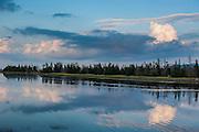Clouds reflecting in the water at Jersey Cove, Cape Breton Highlands National Park,  Cape Breton Island, Nova Scotia, Canada, USA
