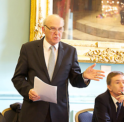 """Rt Hon Vince Cable MP keynote speech at the Institute of Directors, London, Great Britain, 15th April 2013..""""No More than we deserve. The rights & wrongs of high & low pay """"..Presented by the High Pay Centre and the Resolution Foundation...Vince Cable MP ...John Vincent """"Vince"""" Cable (born 9 May 1943) is a British Liberal Democrat politician who has been the Secretary of State for Business, Innovation and Skills since 2010 and the Member of Parliament for Twickenham since 1997, 15 April 2013. Photo by: Elliott Franks / i-Images"""