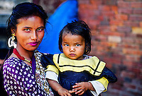 Mother and daughter, Durbar Square, Patan (a.k.a. Lalitpur), Kathmandu Valley, Nepal