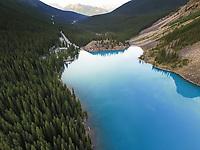 Aerial view of Lake Moraine in Alberta, Canada.