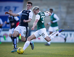 Raith Rovers Ross Matthews and Hibernian's Jason Cummings. <br /> Raith Rovers 1 v 2 Hibernian, Scottish Championship game played 24/10/2015 at Starks Park.