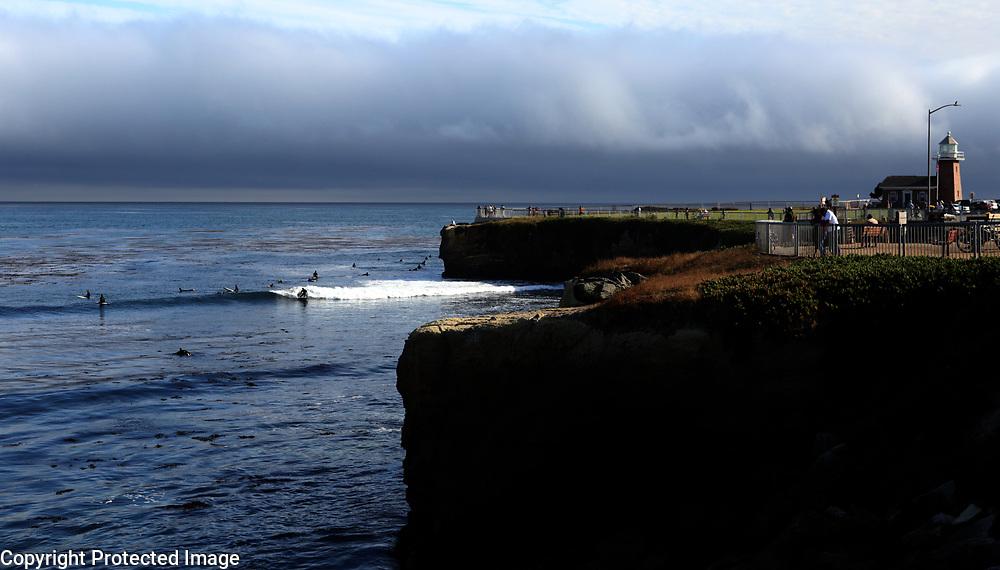 The Steamer Lane surf break dominates Lighthouse Point in Santa Cruz, California.<br /> Photo by Shmuel Thaler <br /> shmuel_thaler@yahoo.com www.shmuelthaler.com