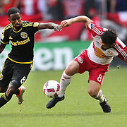 HARRISON, NEW JERSEY- OCTOBER 16:  Mohammed Saeid #8 of Columbus Crew and Felipe Martins #8 of New York Red Bulls challenge for the ball during the New York Red Bulls Vs Columbus Crew SC MLS regular season match at Red Bull Arena, on October 16, 2016 in Harrison, New Jersey. (Photo by Tim Clayton/Corbis via Getty Images)
