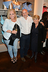 Left to right, JILL KENTON, DAVID KENTON and their mother JUNE KENTON at the Rigby & Peller 'The Art of Lingerie' party held at their store at 2 Hans Road, London on 3rd June 2015.