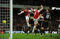 Per Mertesacker is saved by Wayne Hennessey Wolves<br />Arsenal 2011/12<br />Arsenal V Wolverhamton Wanderers (1-1) 27/12/11<br />The Premier League<br />Photo: Robin Parker Fotosports International