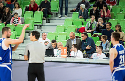 Referee Sasa Pukl watching video during basketball match between KK Union Olimpija and KK Tajfun in Quarterfinals of 1st Nova KBM Slovenian Champions League 2015/16, on May 12, 2016, in Arena Stozice, Ljubljana, Slovenia. Photo by Vid Ponikvar / Sportida