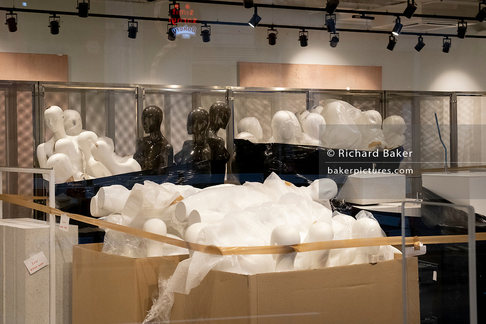 The day after the government introduced a third Coronavirus pandemic national lockdown, effectively a Tier 5 restriction, retailers remain closed, their mannequins stacked during a refurbishment, as the capital experiences a grim post-Christmas and millions of Britons are told to stay at home, on 5th January 2021, in London, England.