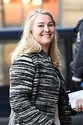 Zijne Majesteit Koning Willem-Alexander en Hare Majesteit Koningin Máxima houden de traditionele Nieuwjaarsontvangst voor Nederlandse genodigden in het Koninklijk Paleis Amsterdam met de aankomst van politici<br /> <br /> op de foto:    Minister van Infrastructuur en Milieu Melanie Schultz van Haegen