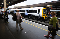 © Licensed to London News Pictures. 15/08/2012. London,UK.Train arrives at London Bridge station today August 15 2012 in London. FirstGroup plans extra services to stations including Blackpool, Shrewsbury and Bolton.  Photo credit : Thomas Campean/LNP