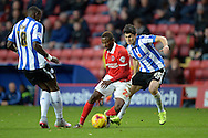 El-Hajdi Ba of Charlton Athletic © goes past  Filipe Melo of Sheffield Wednesday. Skybet football league championship match, Charlton Athletic v Sheffield Wednesday at The Valley  in London on Saturday 7th November 2015.<br /> pic by John Patrick Fletcher, Andrew Orchard sports photography.