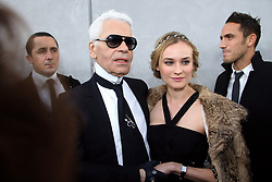 Karl Lagerfeld and Diane Kruger attend the Chanel Haute-Couture Spring-Summer 2008 fashion show held at the Grand Palais, in Paris, France, on January 22, 2008. Photo by Nebinger-Taamallah/ABACAPRESS.COM