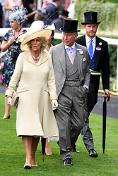 The Duchess of Cornwall, The Prince of Wales and the Duke of Sussex during day one of Royal Ascot at Ascot Racecourse