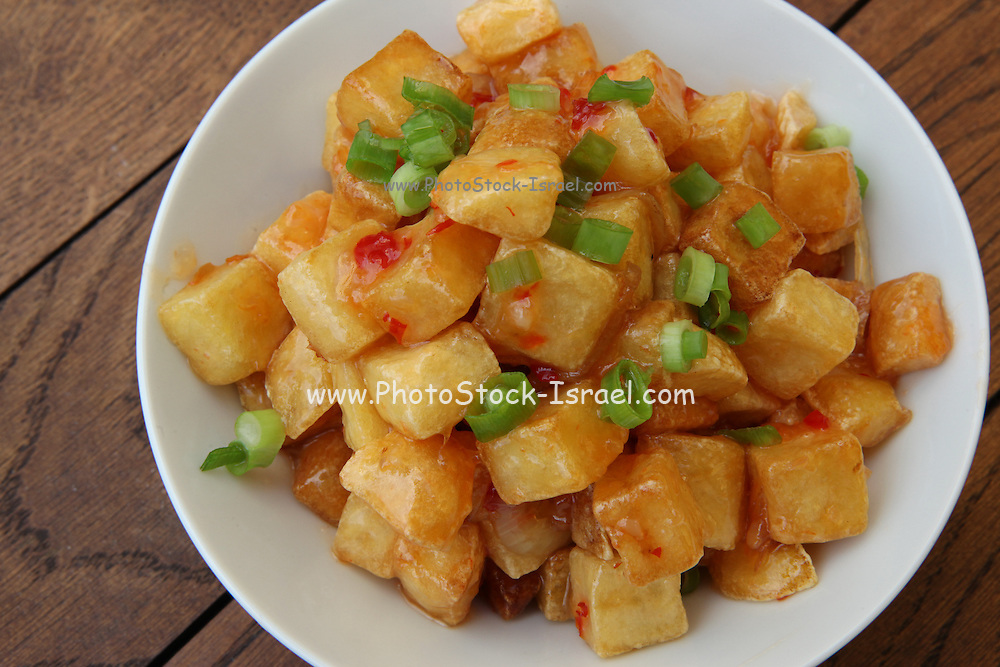 Potato cubes in a bowl