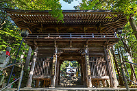 Temple Gate at Okuboji -  the 88th temple on the pilgrimage route of the 88 Shikoku Holy Places and the last temple of the 88. It is dedicated to getting rid of bad luck, and to grant your wishes. It is called the 'Temple of Wish Fulfillment'. Next to the cave is a spring where pristine water bubbles. As this is the last sacred spot along the pilgrimage, many people leave their pilgrim staffs here once they have completed their journey, and dedicate their staffs to all pilgrims who have completed the route.  Although Okuboji is the 88th and final stop, most pilgrims feel that the entire journey has not yet been completed until they pass by temple number one, then onto Koyasan afterwards.