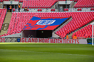 Three Lions canopy above an entrance into the stadium ahead of the UEFA Nations League match between England and Croatia at Wembley Stadium, London, England on 18 November 2018.