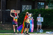 Christopher Kalcich uses a bullhorn to lead chants during a Pride Rally in Milton, Pennsylvania on August 8, 2020. The I Am Alliance organized the event to show support for the LGBTQ community. (Photo by Paul Weaver)