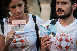 October 3, 2018 - Rome, Italy, Italy - ''Solo in cartolina'' is the name of the campaign against deaths at sea, which began last August and has reached its end today. Today, in fact, on the International Day of Remembrance and Reception, ten thousand postcards signed by citizens from all over Italy against the policies on migrants of the Minister of the Interior Matteo Salvini were delivered to the Palazzo del Viminale. The contest began in the middle of summer, when 300 designers, illustrators and artists - including Colapesce, Lo Stato Sociale, The Zen Circus e Diabolik - created ''special'' postcards denouncing the closed ports and supporting those who save the lives of migrants at sea every day. The online vote then rewarded in mid-August the 10 most beautiful postcards, which were printed in number of 1000 each. The epistolary uprising also arrived in the Italian squares, from north to south. The postcard messages written by the Italians and addressed to Salvini arrived at the Viminale with a symbolic action: the promoters of the campaign, some representatives of the NGOs and the network of ''Restiamo Umani'' delivered the 10,000 postcards by hand. The Minister of the Interior, however, was not there to welcome them on October 3, 2018 in Rome, Italy  (Credit Image: © Andrea Ronchini/NurPhoto/ZUMA Press)