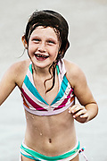 Young girl after a swim at the beach.