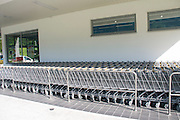 Shopping Carts at the Hofer (Aldi) discount supermarket Photographed in Austria