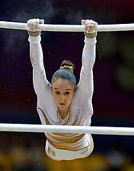 Nina Derwael of Belgium performs on the Uneven Bars  during the Women's Final at the 48th Gymnastics World Championships in Doha, capital of Qatar, Nov. 02, 2018. Nina Derwael  won the gold medal with 15.200  (Credit Image: © Yangyuanyong/Xinhua via ZUMA Wire)