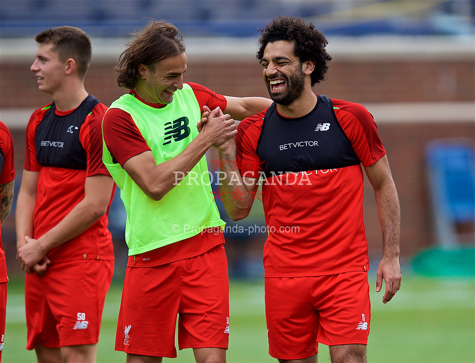 ANN ARBOR, USA - Friday, July 27, 2018: Liverpool's Lazar Markovic (left) and Mohamed Salah (right) during a training session ahead of the preseason International Champions Cup match between Manchester United FC and Liverpool FC at the Michigan Stadium. (Pic by David Rawcliffe/Propaganda)