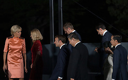 Brigitte Macron, French President Emmanuel Macron and China President Xi Jinping during family photo session on the first day of the G20 summit in Osaka, Japan on June 28, 2019. Photo by Jacques Witt/Pool/ABACAPRESS.COM