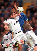 Contraversial hand ball for Chelsea's 1st goal which was scored from the penalty spot. Ramon Vega (Tottenham Hotspur) handles the ball under pressure from Gustavo Poyet (Chelsea). 28/10/2000 Chelsea v Tottenham. Credit: Andrew Cowie / Colorsport.