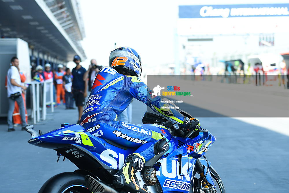 BURIRAM, THAILAND - OCTOBER 05: Alex Rins (42) of Spain and Team SUZUKI ECSTAR during FP1 at the MotoGP PTT Thailand Grand Prix 2018, Chang International Circuit, Thailand on October 05, 2018. <br /> .<br /> .<br /> .<br /> (Photo by: Naratip Golf Srisupab/SEALs Sports Images)<br /> .<br /> Any image use must include a mandatory credit line adjacent to the content which should read: Naratip Golf Srisupab/SEALs Sports Images