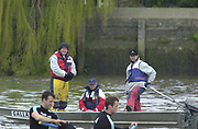 Hammersmith, London. 2002 Varsity Boat Race, 26/3/2002, Tideway Week,  Cambridge Blue Boat, during a training session on the Championship Course, River Thames, England.  [Mandatory Credit; Peter Spurrier / Intersport Images ]<br /> <br /> Cambridge coach's Left to right. Martin McElroym Alan Innes and Robin WILLIAMS 20020327 University Boat Race, [Varsity],  Tideway Week. Putney. London