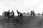 Imerial Russian Army: An artillery unit, firing a field gun,  c1914.