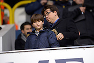 Comedian Michael McIntyre talking to his son Lucas McIntyre look on from the stand before k/o. Barclays Premier league match, Tottenham Hotspur v West Ham Utd at White Hart Lane in London on Sunday 22nd November 2015.<br /> pic by John Patrick Fletcher, Andrew Orchard sports photography.