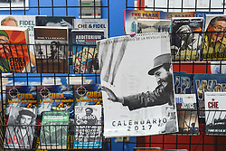 November 27, 2016 - Havana, Cuba - A calendar and books with Fidel Castro, seen in Havana on November 26, 2016, the next day after Fidel Castro, Cuba's historic revolutionary leader, and the former Prime Minister and President of Cuba, dies on the late night of November 25, 2016, at age of 90. . Fidel Castro died aged 90. One of the world's longest-serving rulers and modern history's most singular characters, Castro defied 11 US administrations and hundreds of assassination attempts..On Saturday, 25 November 2016, in Havana, Cuba. (Credit Image: © Artur Widak/NurPhoto via ZUMA Press)
